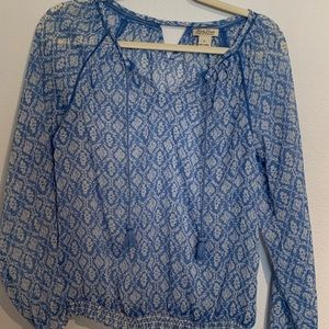 Lucky Brand Sheer Keyhole Blouse - Size small.